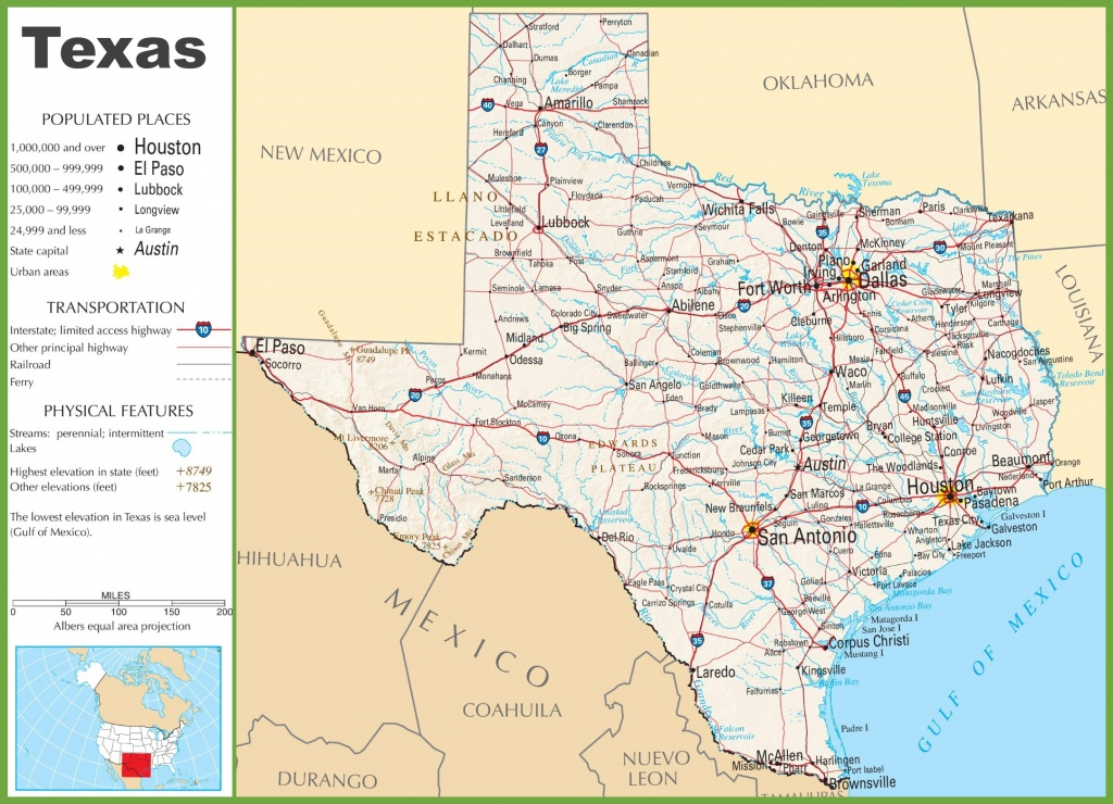 Texas Highway Map - Printable Map Of Texas Cities And Towns