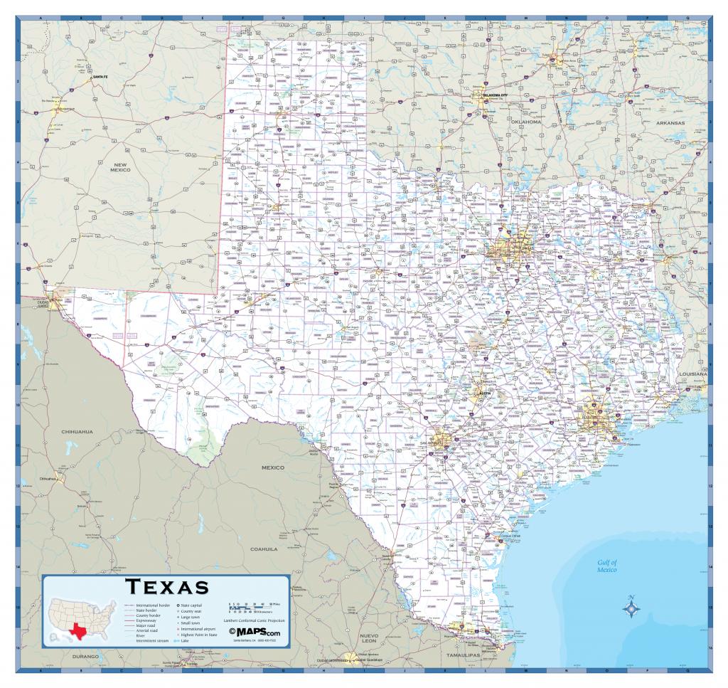 Texas Highway Wall Map - Full Map Of Texas