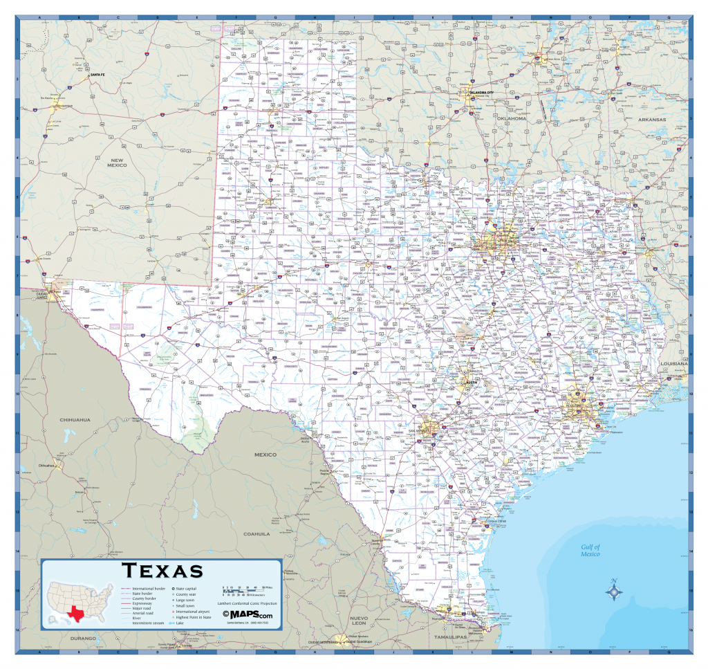 Texas Highway Wall Map - Rand Mcnally Texas Road Map