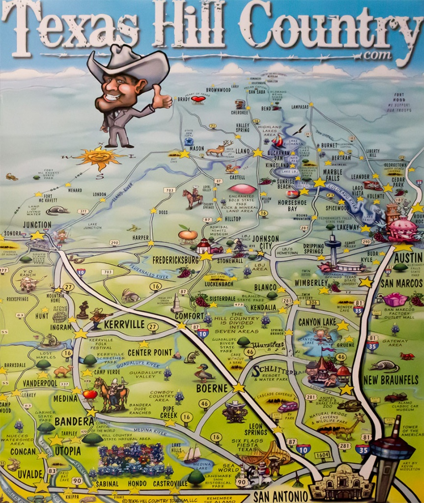 Texas Hill Country Map Poster - Texas Hill Country - Hill Country Texas Wineries Map