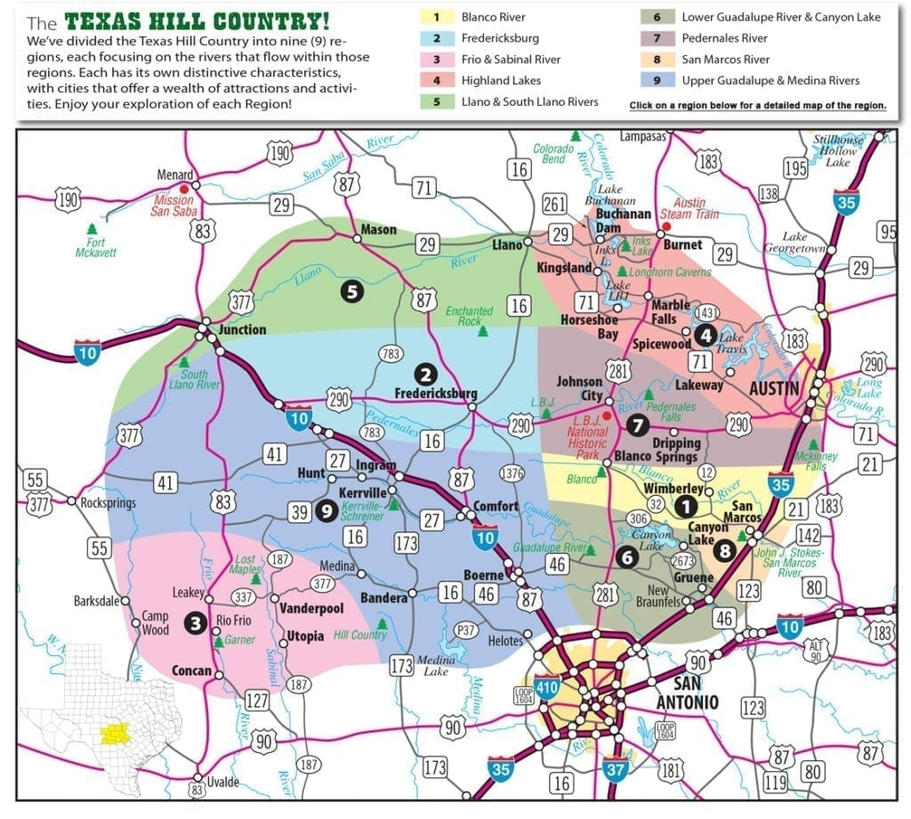 Texas Hill Country Map With Cities & Regions · Hill-Country-Visitor - Driving Map Of Texas Hill Country