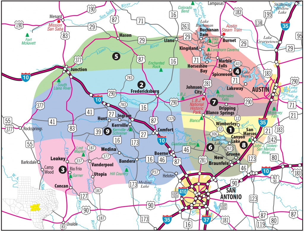 Texas Hill Country Map With Cities & Regions · Hill-Country-Visitor - Google Maps Spring Texas