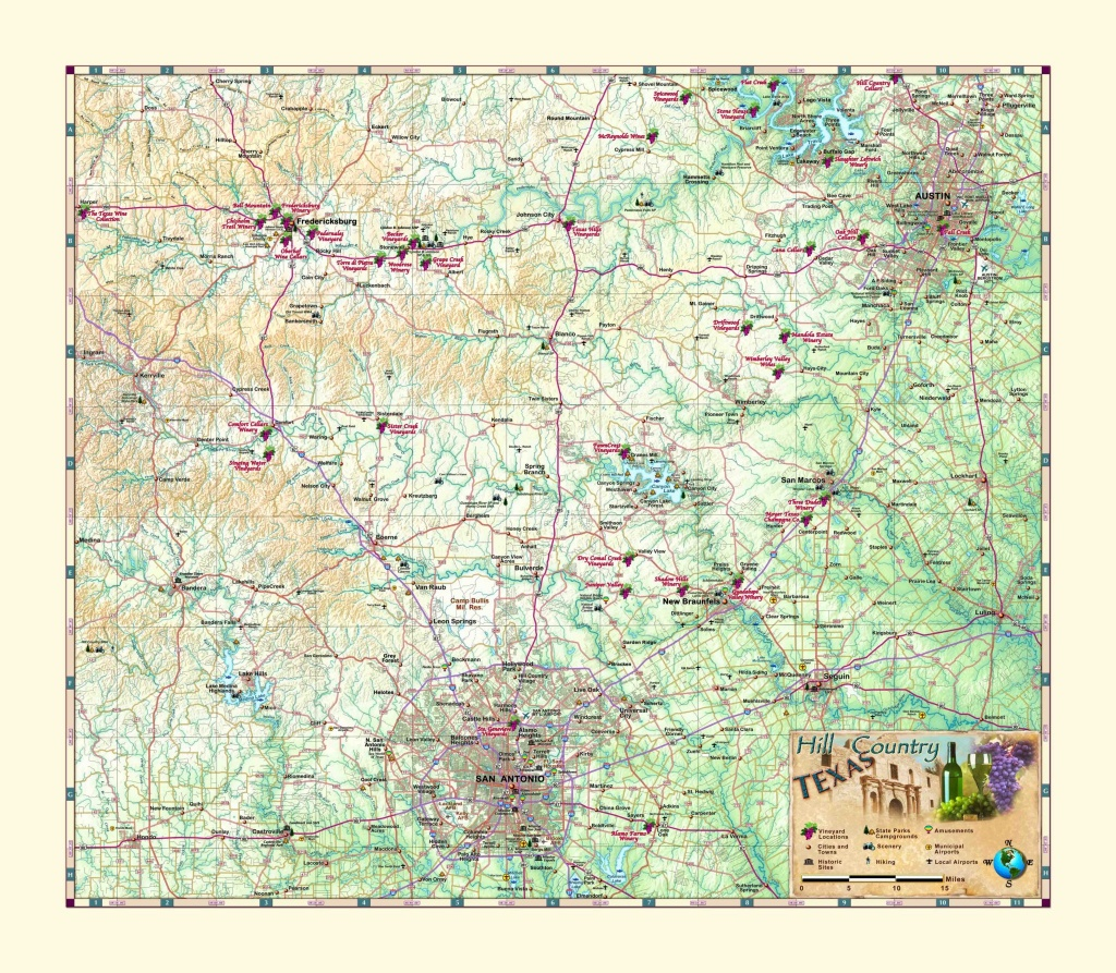Texas Hill Country & Wine Wall Map - The Map Shop - Hill Country Texas Wineries Map