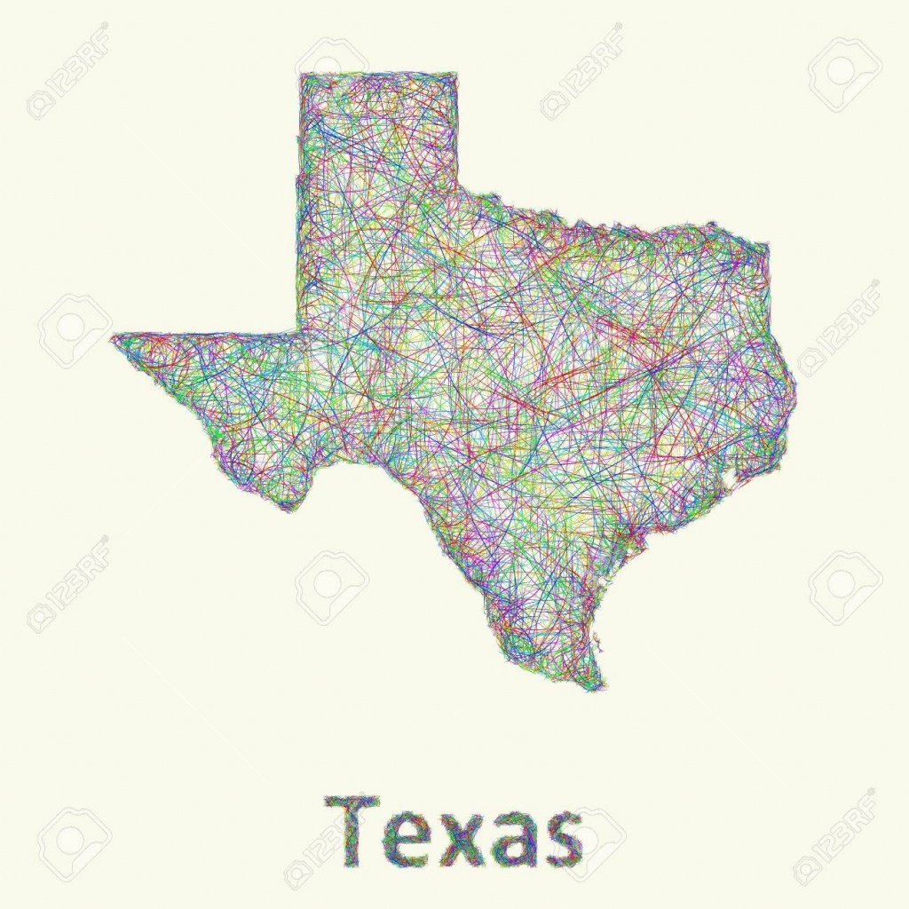 Texas Line Art Map From Colorful Curved Lines - Map Of Texas Art