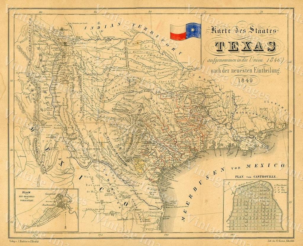 Texas Map 1849 Map Of Texas Texas Old Map Of Texas Vintage Map | Etsy - Texas Map Wall Art
