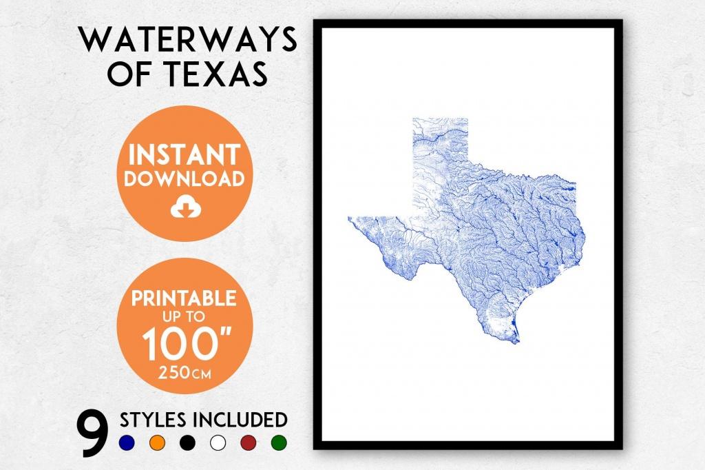 Texas Map Art Printable Texas Print Texas Map Print Texas | Etsy - Texas Map Print