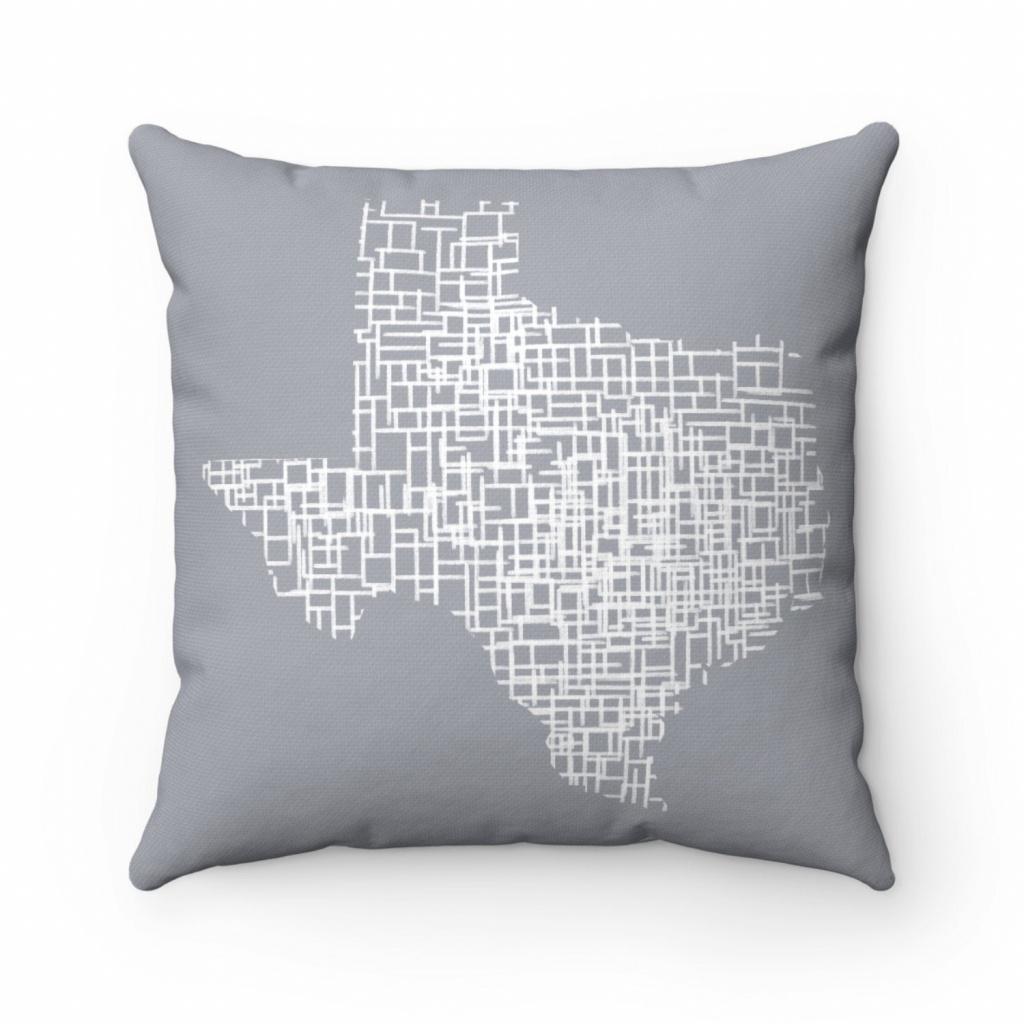 Texas Map Living Room Decor Map Pillow Throw Pillow Covers | Etsy - Texas Map Pillow