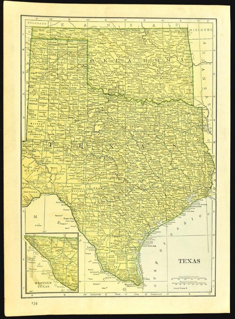 Texas Map Of Oklahoma Map Of Texas Wall Art Decor Original 1930S Wedding  Gift Idea For Him Print - Map Of Texas Art