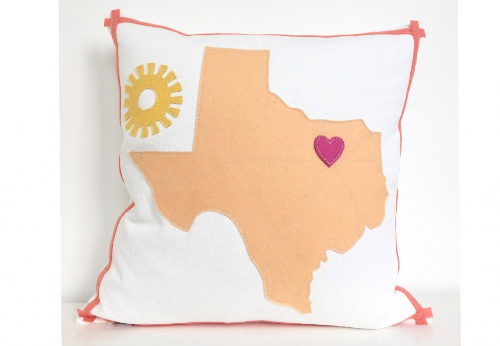 Texas Map Pillow With Heart On Dallas | Etsy - Texas Map Pillow