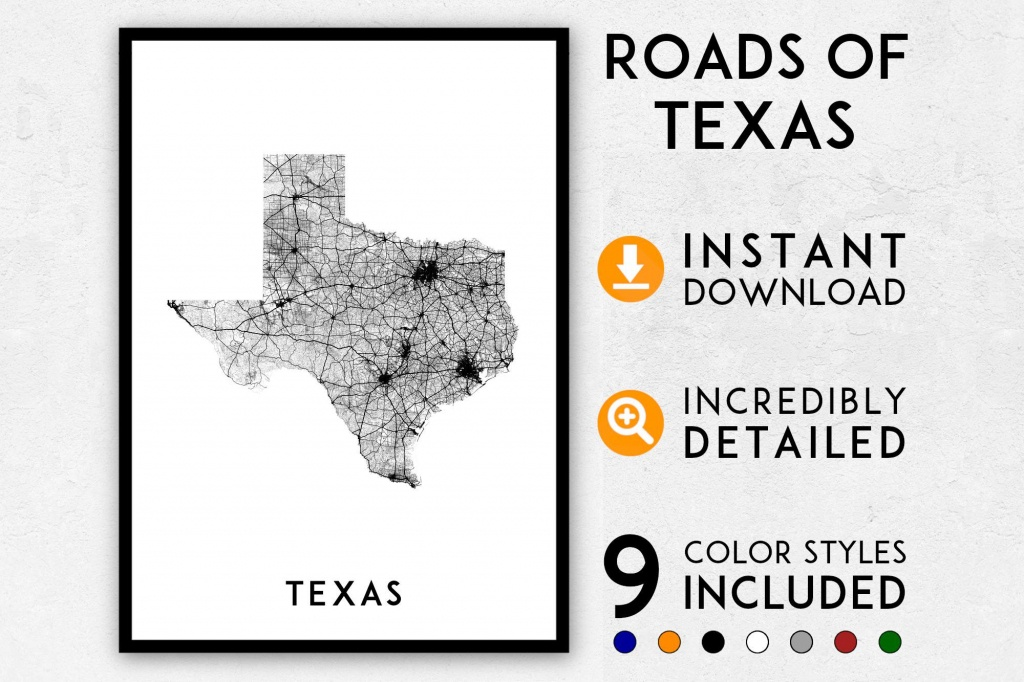 Texas Map Print Texas Print Texas State Map Usa Map Texas | Etsy - Texas Map Print