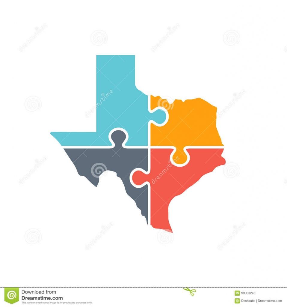 Texas Map Puzzle Logo Illustration Stock Illustratie - Illustratie - Texas Map Puzzle