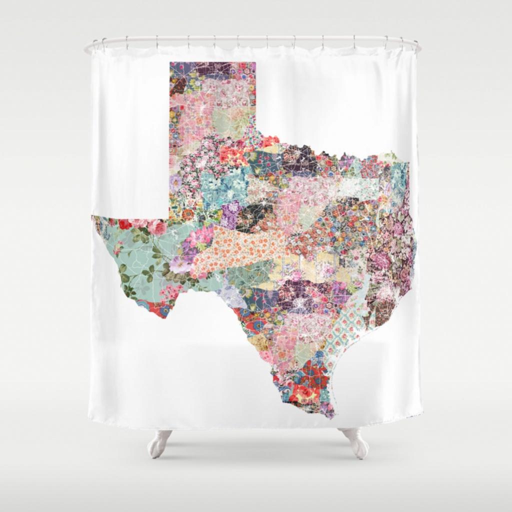Texas Map Shower Curtainpoeticmaps | Society6 - Texas Map Shower Curtain