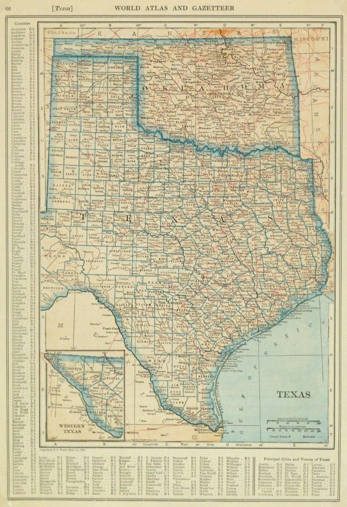 Texas & Oklahoma Map, 1921 - Original Art, Antique Maps & Prints - Map Of Oklahoma And Texas Together