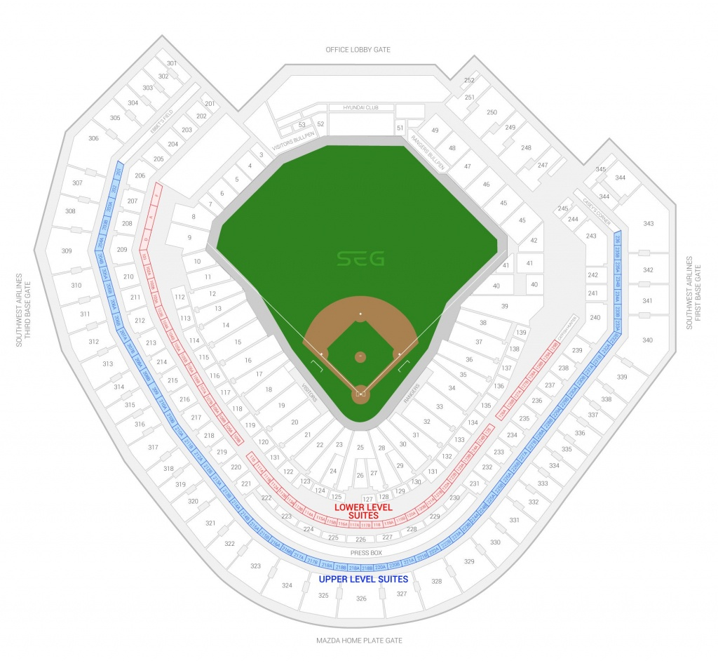 Texas Rangers Suite Rentals | Globe Life Park - Texas Rangers Map