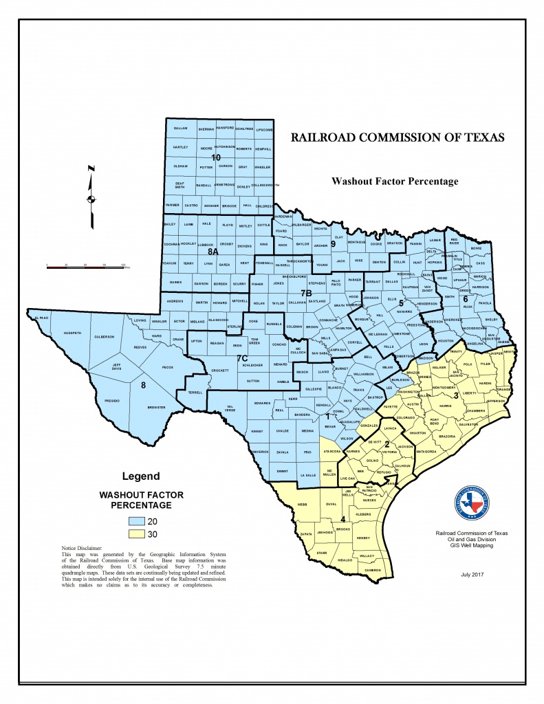 Texas Rrc - Washout Factors And Top Of Cement - Rule Texas Map