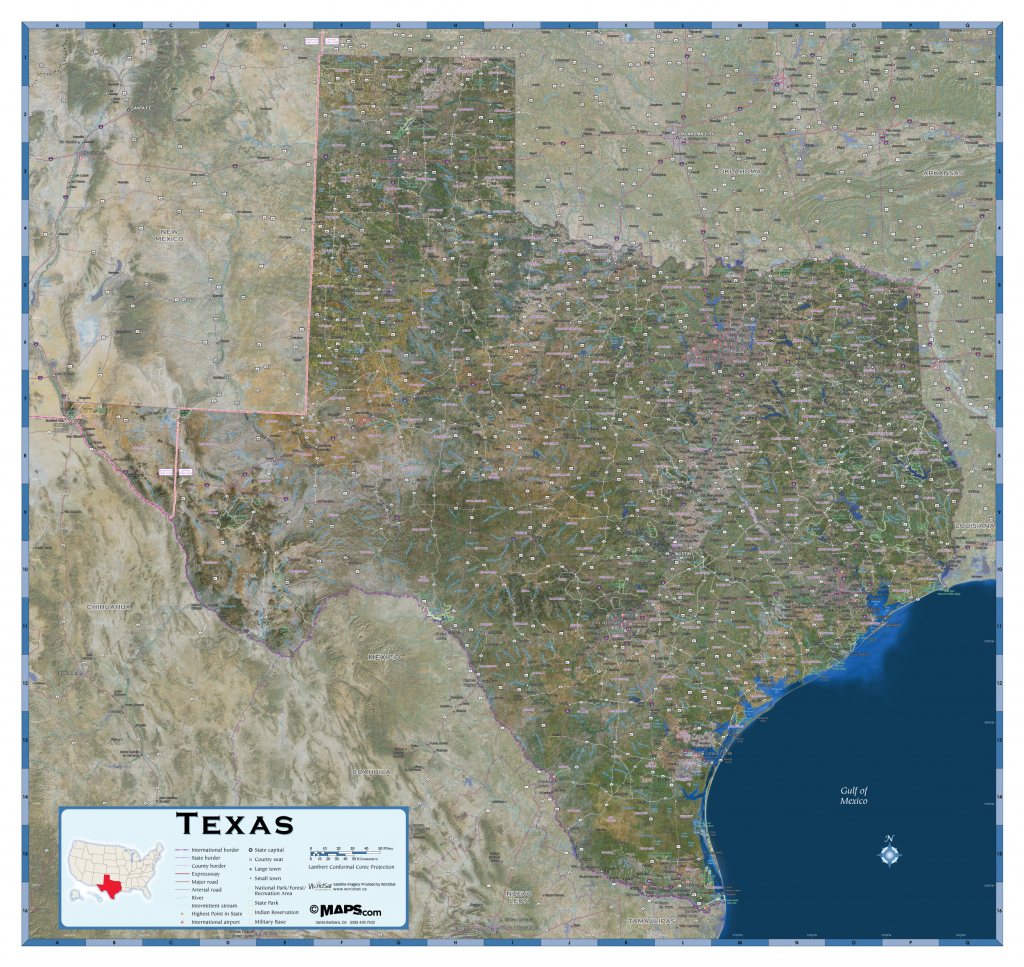 Texas Satellite Wall Map - Maps - Texas County Wall Map