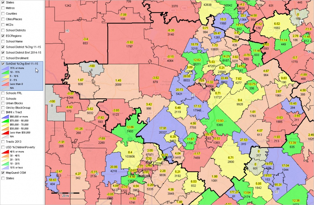 Texas School Districts 2010 2015 Largest Fast Growth - Texas School District Map By Region
