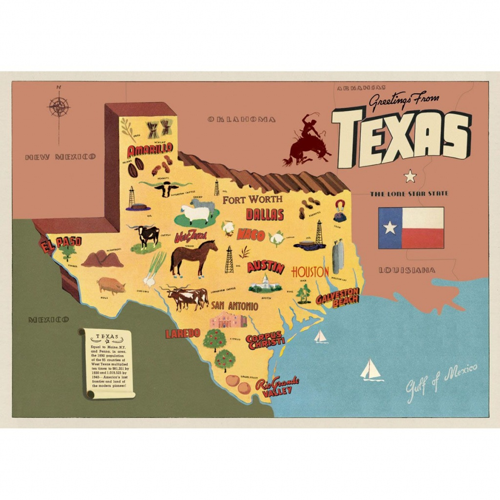 Texas Sightseeing Map Souvenir Vintage Style Poster_D | Big Boy Room - Texas Sightseeing Map