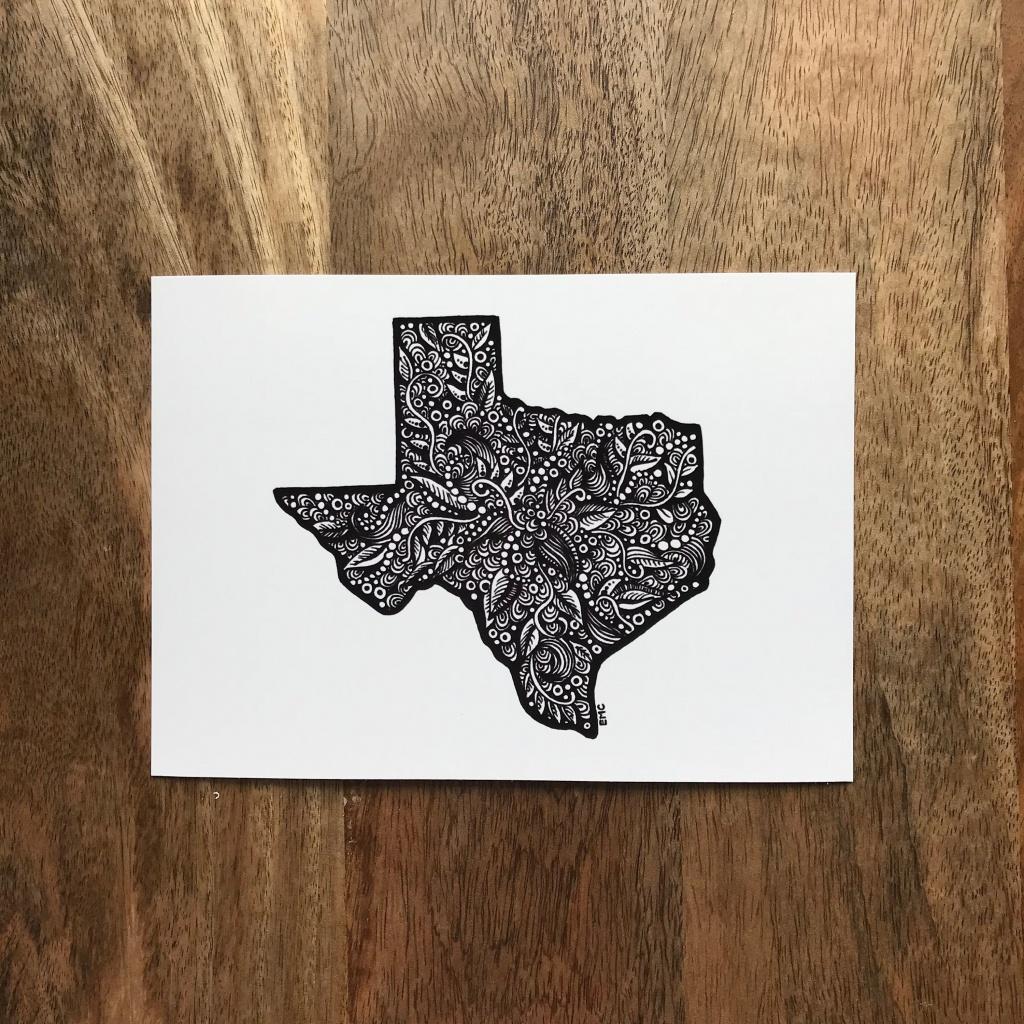 Texas State Art Texas Map Drawing Geometric Texas Texas | Etsy - Texas Map Artwork