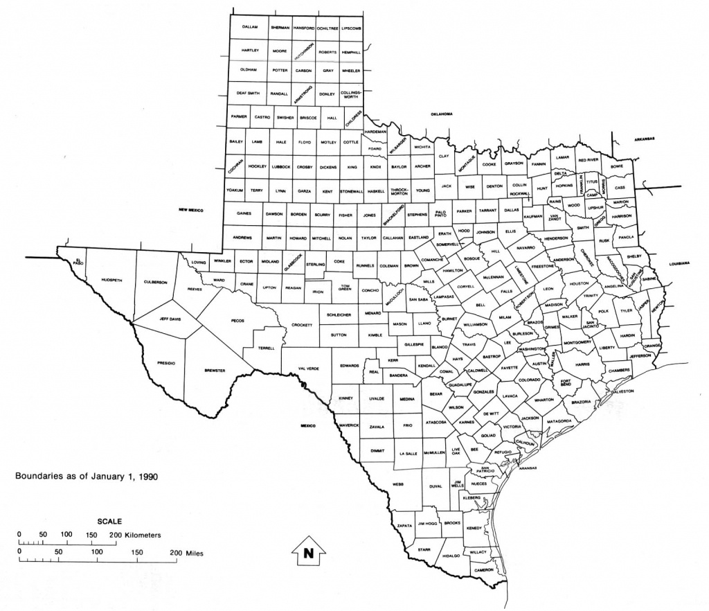 Texas State Map With Counties Outline And Location Of Each County In - Texas State Map With Counties