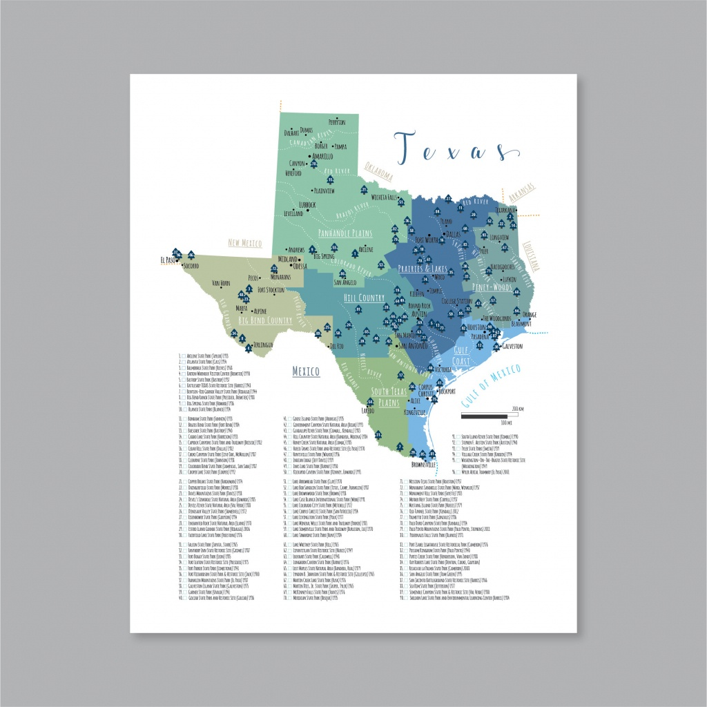 Texas State Parks Map Printable Map Of The State Parks In | Etsy - Texas State Parks Map