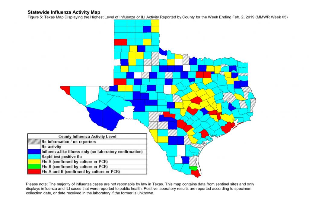 Texas-Statewide-Influenza-Map-Week5-2019 - Best Texas Er Open 24/7 - Texas Flu Map 2017