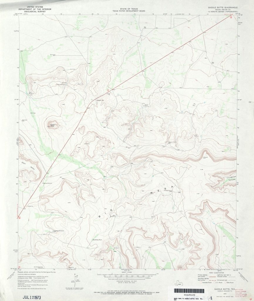 Texas Topographic Maps - Perry-Castañeda Map Collection - Ut Library - Martin County Texas Section Map