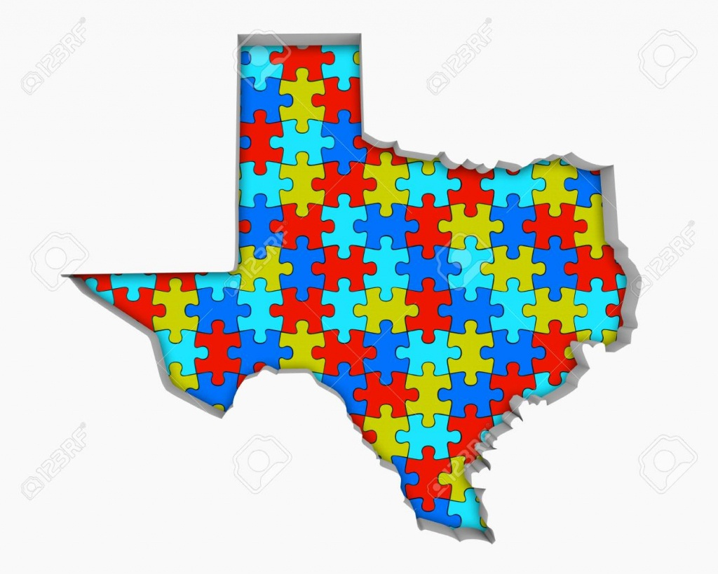 Texas Tx Puzzle Pieces Map Working Together 3D Illustration Stock - Texas Map Puzzle