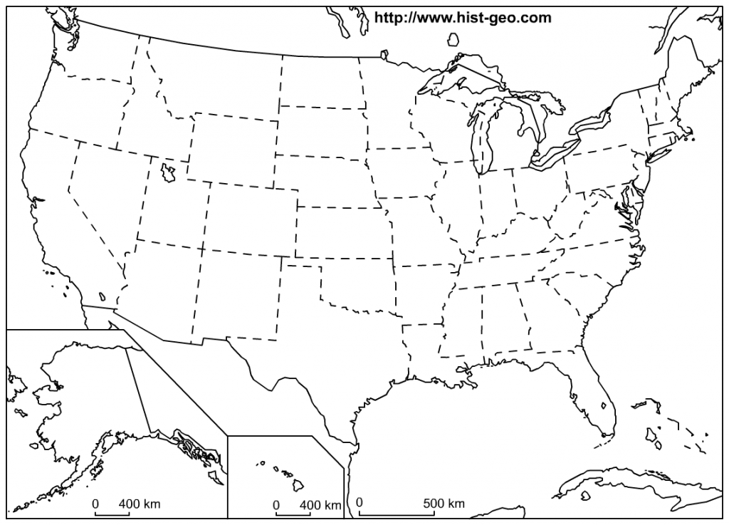 That Blank School Map Displaying The 50 States Of The United States - Free Printable Us Map For Kids