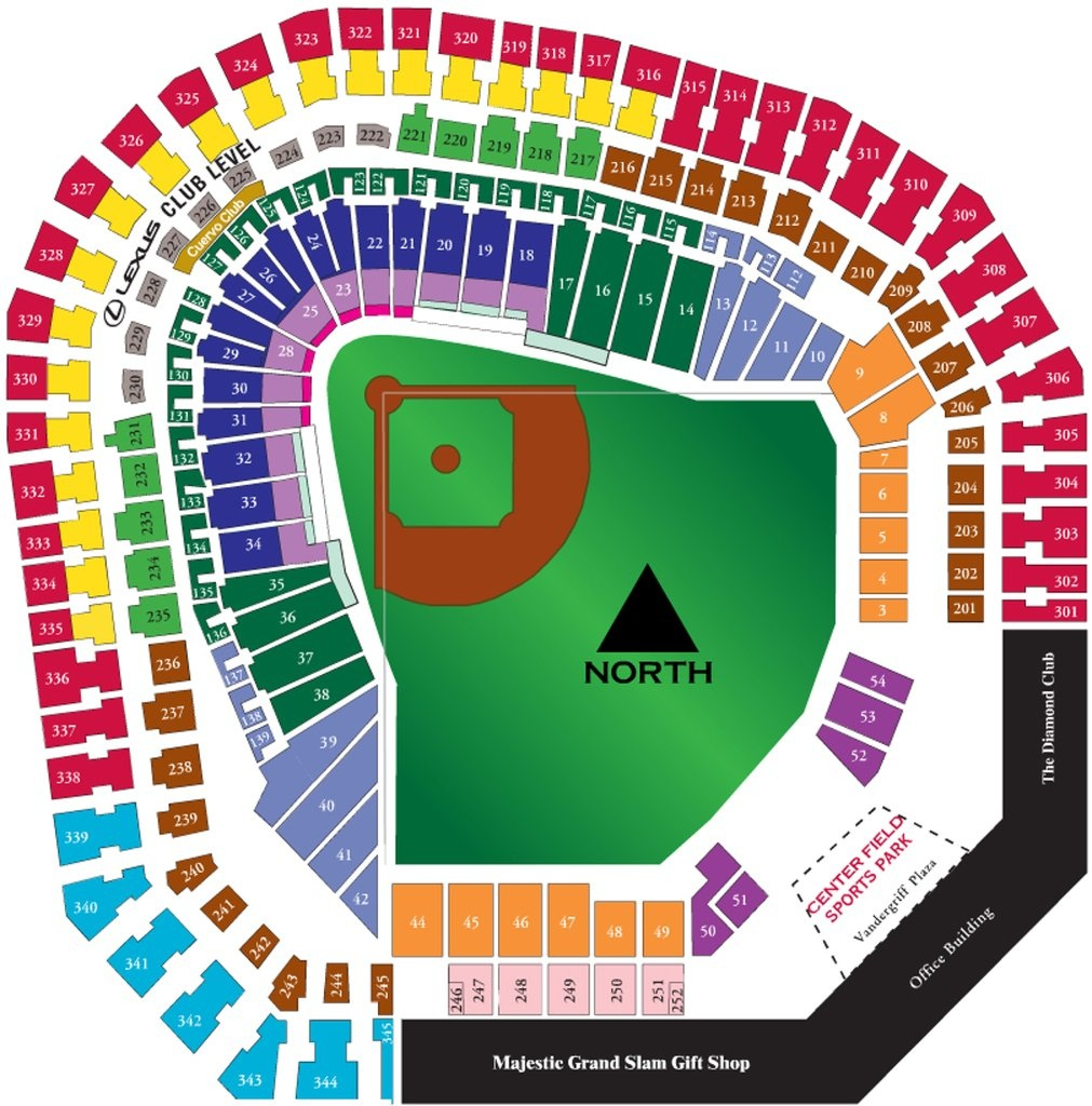 The Ballpark At Arlington - Maplets - Texas Rangers Stadium Map