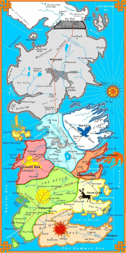 The Best Printable Map Of Westeros. Not Too Detailed To Print On One - Game Of Thrones Printable Map
