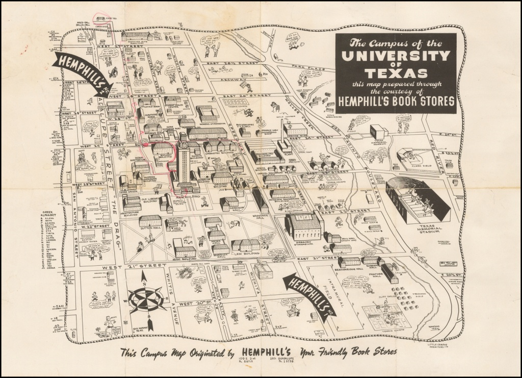 The Campus Of The University Of Texas. Austin, Texas. Map Originated - Map Store Austin Texas