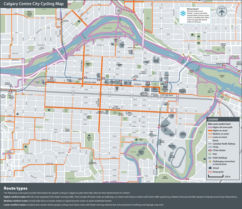 The City Of Calgary - Cycling And Walking Route Maps - Printable Map Of Downtown Calgary