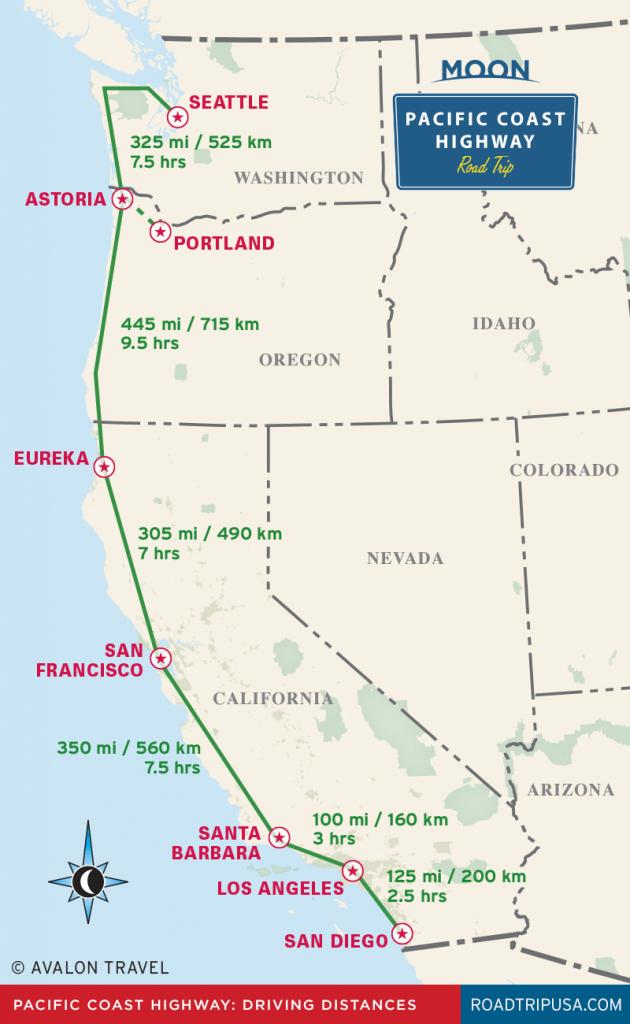 The Classic Pacific Coast Highway Road Trip | Road Trip Usa - Washington Oregon California Coast Map