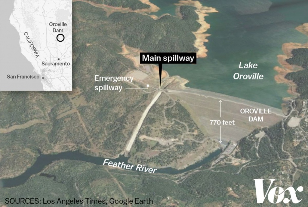 The Crisis At Oroville Dam, Explained - Vox - Oroville California Google Maps