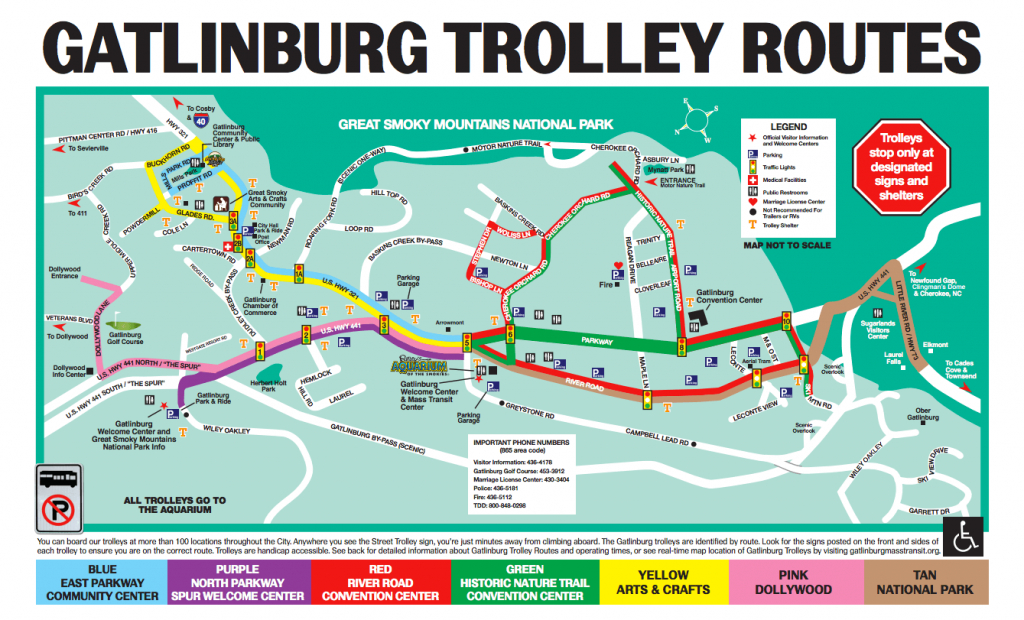 The Gatlinburg And Pigeon Forge Trolley - Dw Parks And More - Printable Map Of Pigeon Forge Tn