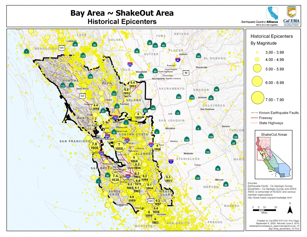 The Great California Shakeout - Bay Area - Usgs Recent Earthquake Map California