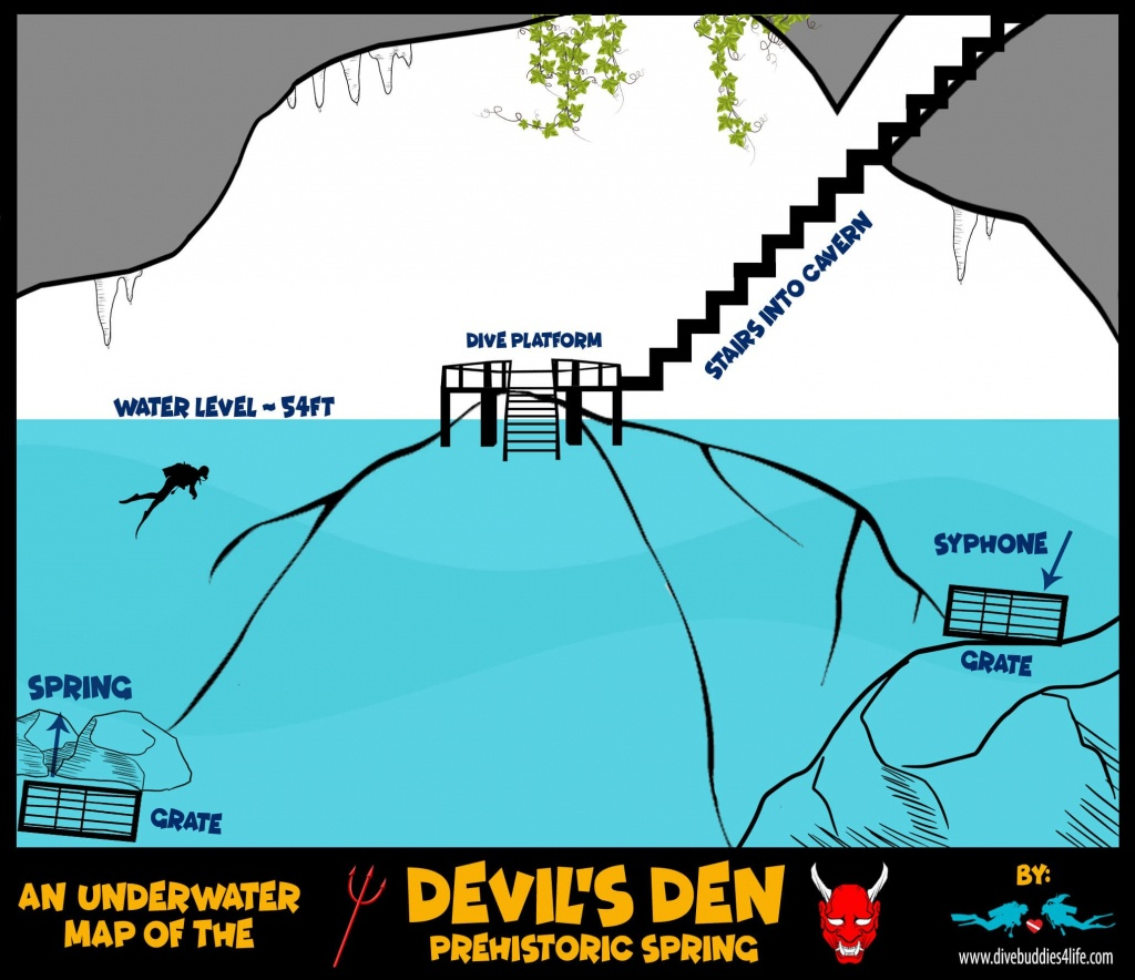 The Prehistoric Spring Of The Devil's Den Underwater Map In Florida - Devil's Den Florida Map