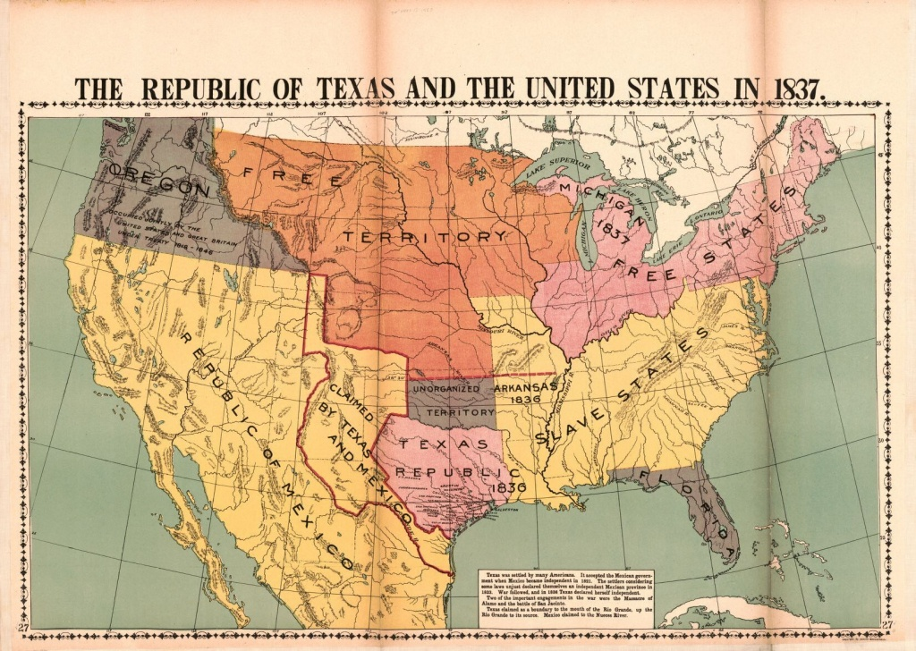 The Republic Of Texas And The United States In 1837 | Library Of - Republic Of Texas Map