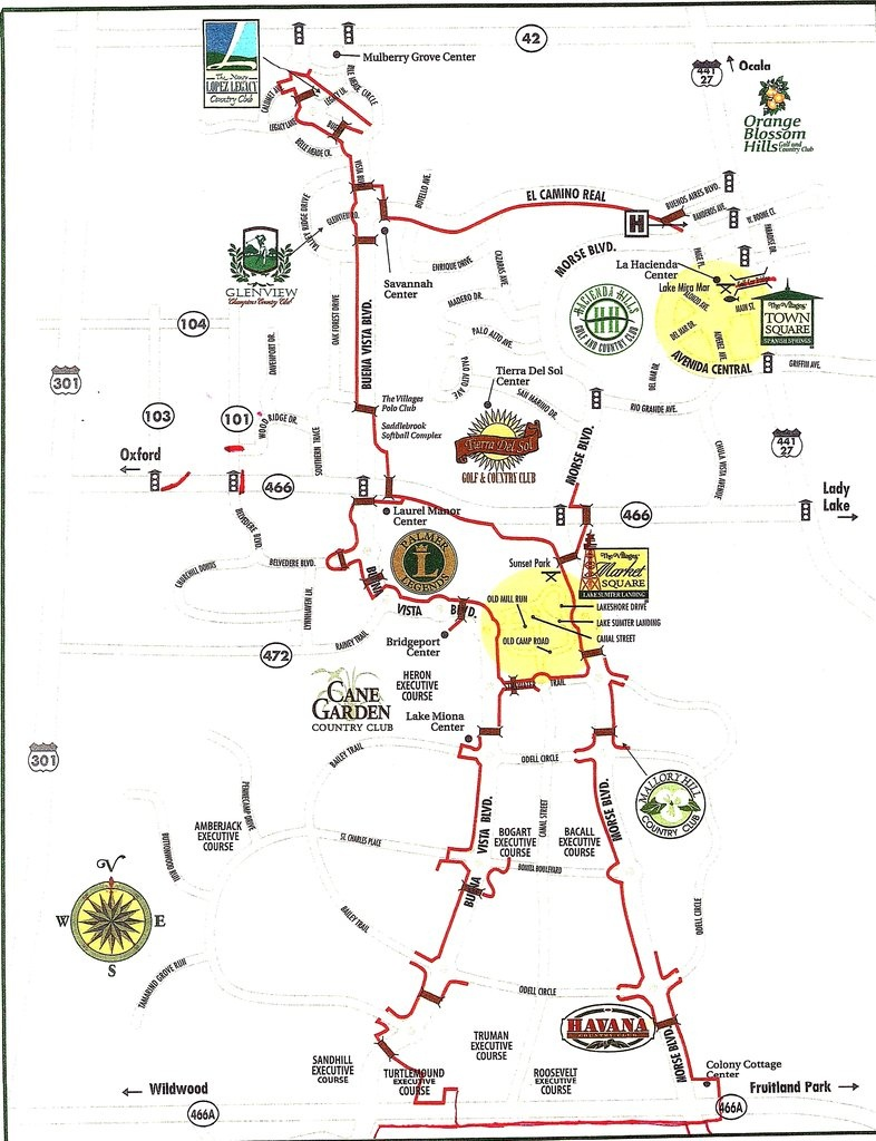 The Villages Golf Cart Paths - Maplets - The Villages Florida Map
