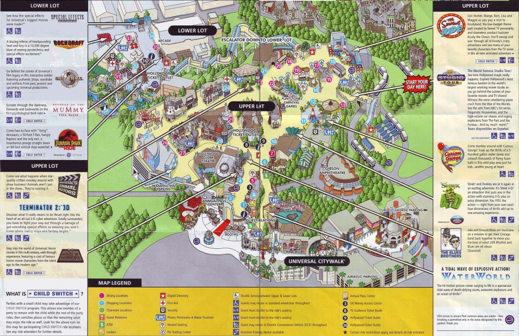 Theme Park Brochures Universal Studios Hollywood - Theme Park Brochures - Universal Studios California Map
