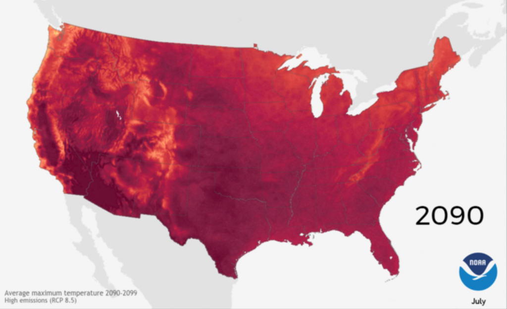 These Beautiful, Terrifying Maps Show How Hot We'll Get In 2090 - Florida Temp Map
