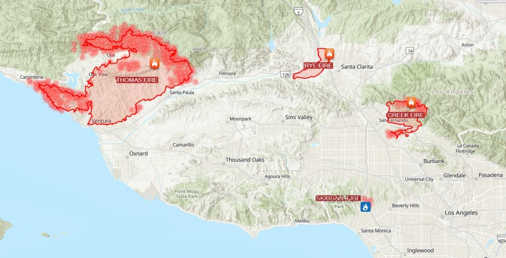 This Map Shows How Big And Far Apart The 4 Major Wildfires Are In - Fires In Southern California Today Map