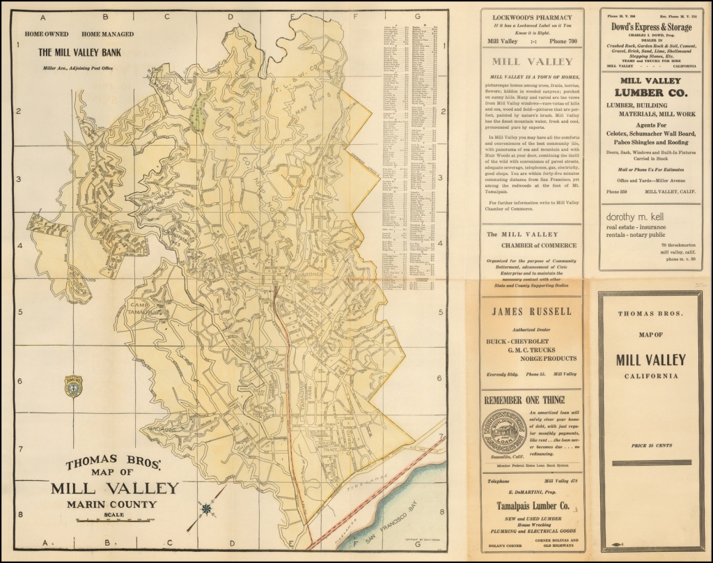 Thomas Bros. Map Of Mill Valley Marin County - Barry Lawrence - Thomas Bros Maps California