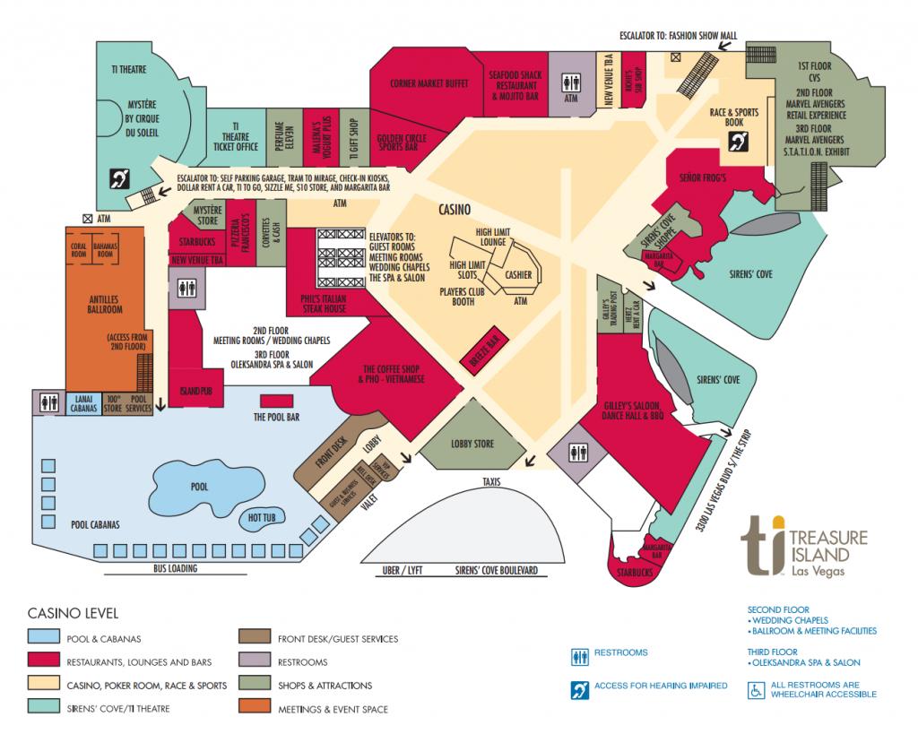 Ti Hotel Property Map Treasure Island Hotel And Casino, Las Vegas - Street Map Of Treasure Island Florida