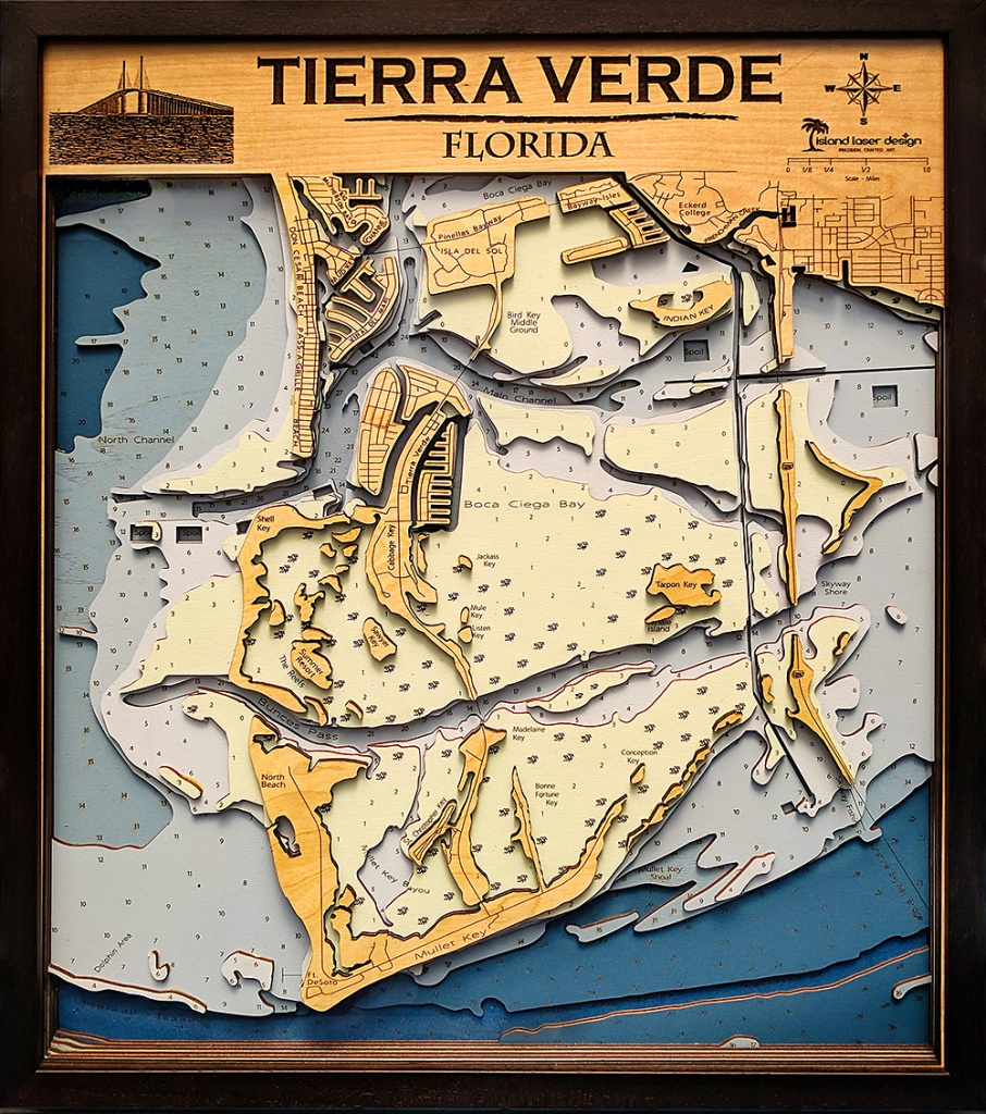Tierra Verde – Large – 7 Layers – 25″ X 30″ | Island Laser Design - Terra Verde Florida Map