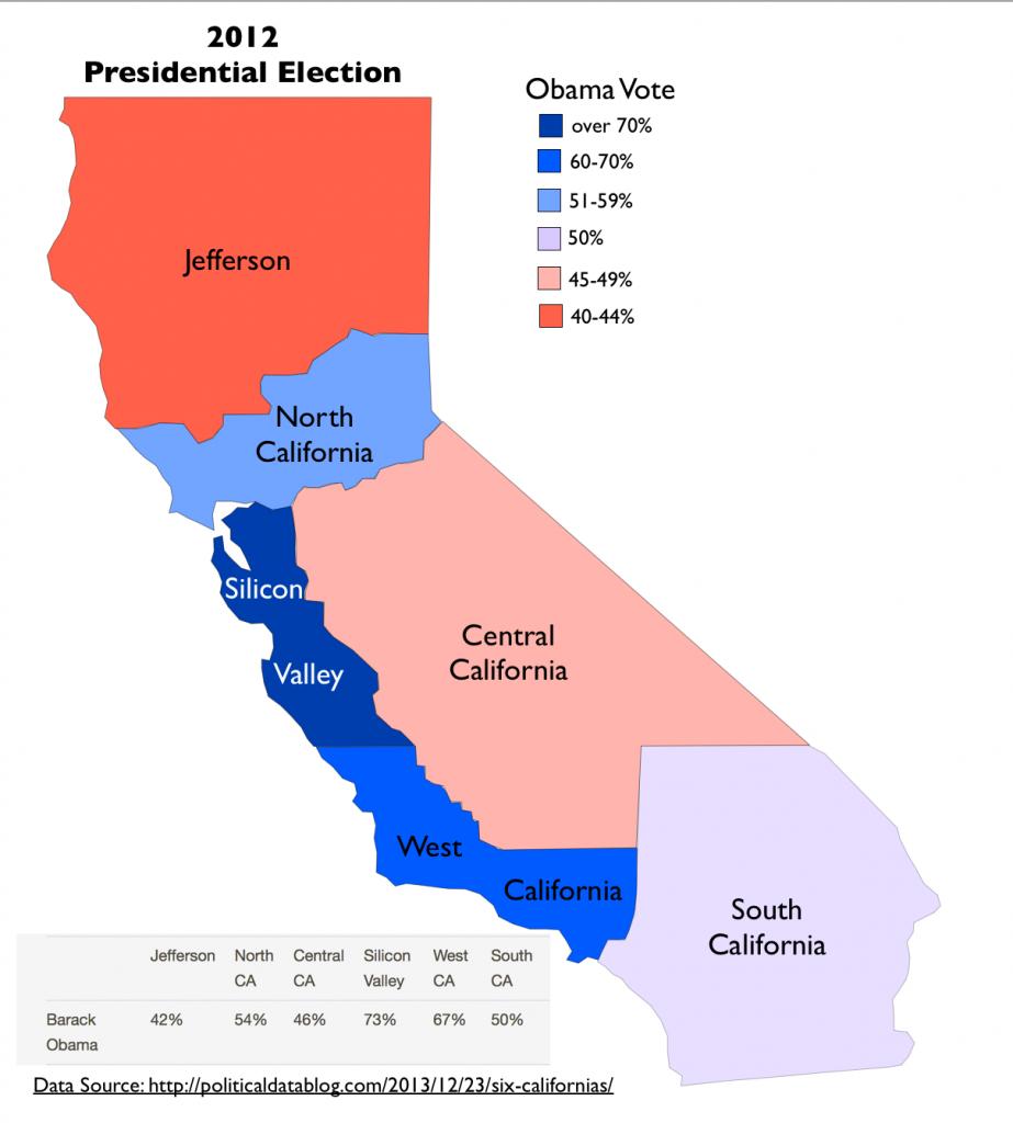 """Tim Draper's Proposed """"Six Californias"""" - Divide California Map"""