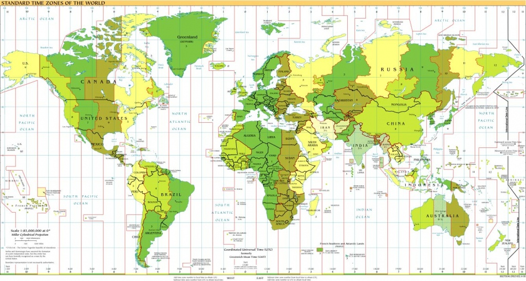 Time Zones Of The World Map (Large Version) - Maps With Time Zones Printable