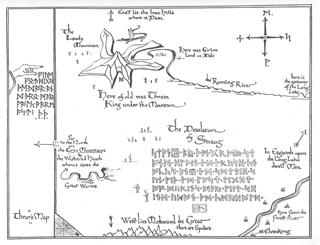 Tolkien Map - Thror's Map   Fantasy Maps   The Hobbit Map, Middle - Printable Hobbit Map