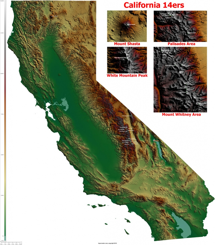 Topocreator - Create And Print Your Own Color Shaded-Relief - California Terrain Map